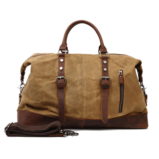 BEARKY wholesale custom top vintage crazy horse leather waxed wax canvas travel duffle bag