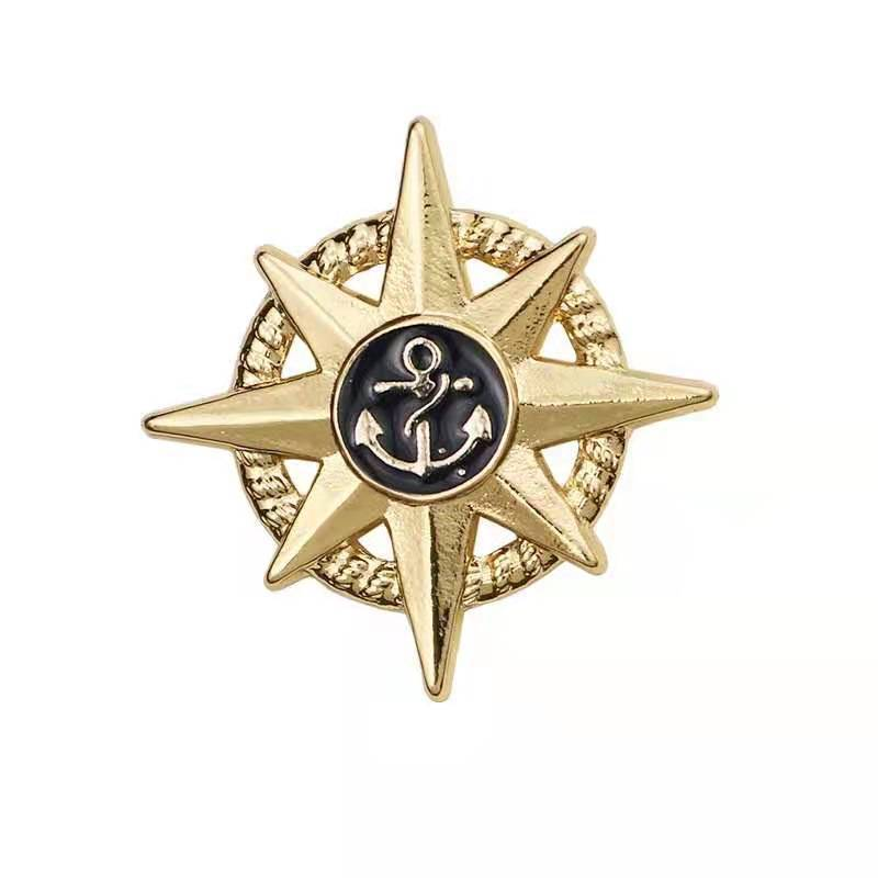 European and American men brooch sun star awn rudder badge shirt suit accessories badge cap badge